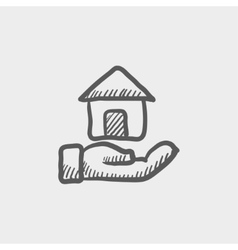 Hand owned the house sketch icon vector