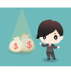 Cute cartoon or mascot businessman points money vector