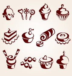 Sweet pastry set vector