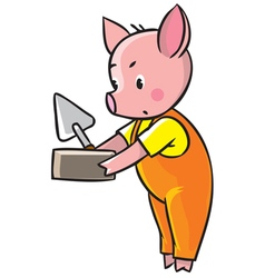 Little pig in orange overall with brick and trowel vector