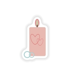 Stylish paper sticker on white background candle vector