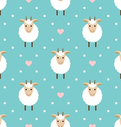 Polka dots seamless pattern with cute goat vector