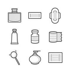 Medical pharmacist basic equipment icons vector
