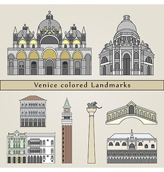 Venice colored landmarks vector