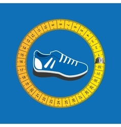 Sports shoes and tape measure vector