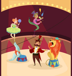 Artists on circus stage lion tamer juggler with vector