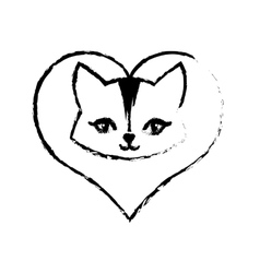Cat animal domestic furry love sketch vector