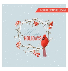 Christmas Winter Birds and Berries Graphic Design vector image vector image