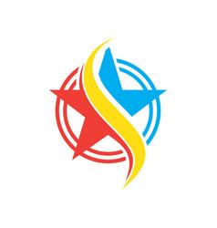 circle star sign logo vector image vector image