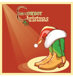 Cowboy christmas card with american shoes vector image vector image