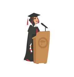 flat girl graduate in gown cap vector image vector image