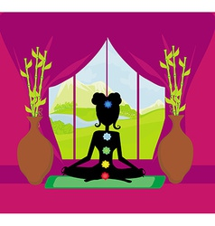 girl sits and meditates - chakra points vector image
