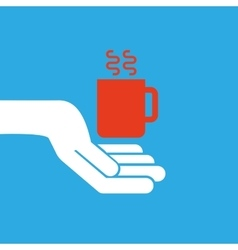 Hand hold icon smartphone and cup design flat vector