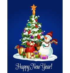 Happy New Year poster of christmas tree snowman vector image