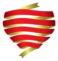 heart banner ribbon vector image vector image