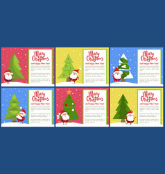 merry christmas and santa set vector image
