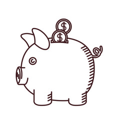 Monochrome silhouette of moneybox in shape of pig vector