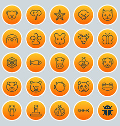 Nature icons set collection of baboon piglet vector