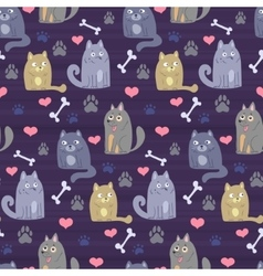 pattern with cartoon cats and dogs vector image