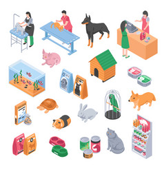pet shop veterinary grooming icon set vector image