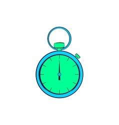 Pocket watch icon in cartoon style vector