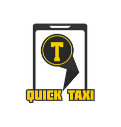 Quick taxi mobile application sign in smartphone vector