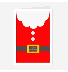 Santa claus coat beard fur button and yellow belt vector