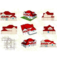 Set architectural objects vector image