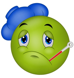 Sick emoticon smiley vector image vector image