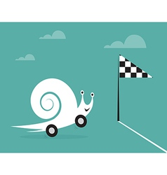 Snail on wheels vector image