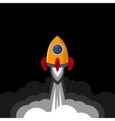 Space rocket on black sky background vector