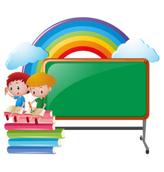 two boys and blank blackboard vector image