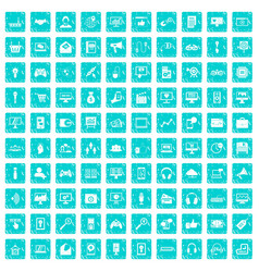 100 web and mobile icons set grunge blue vector