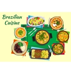 Brazilian cuisine dishes with thick soups stews vector