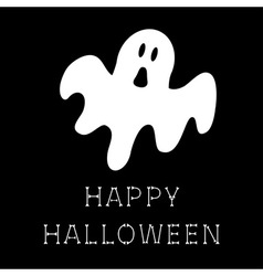 Funny flying ghost happy halloween bone text vector