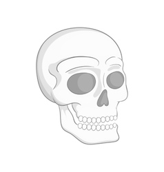 Human skull icon black monochrome style vector image