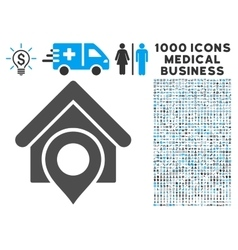 Realty Location Icon with 1000 Medical Business vector image
