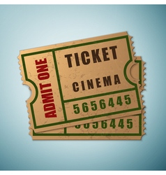 Vintage paper admit one and ticket icon isolated vector