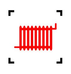 Radiator sign red icon inside black focus vector