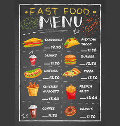 Fast food restaurant menu on chalkboard vector