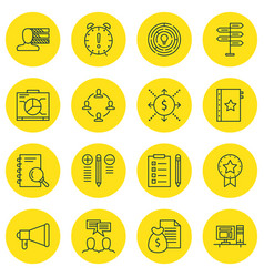 Set of 16 project management icons includes vector
