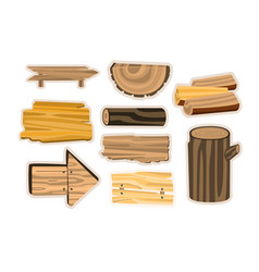 Set of wooden sign boards planks logs wooden vector