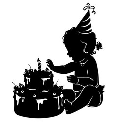 Silhouette baby girl with birthday cake with vector