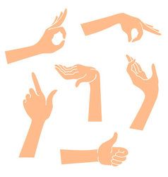 Hands icons in a realistic poses vector