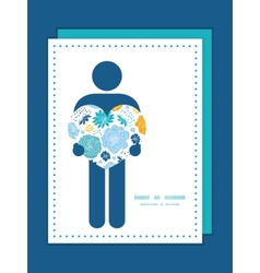Blue and yellow flowersilhouettes man in vector