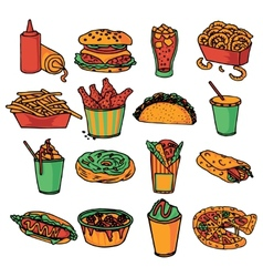 Fast food menu icons set color vector