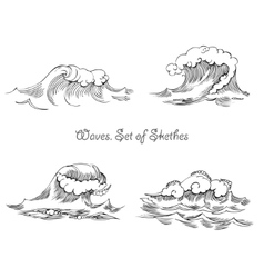 Waves set of sketches vector