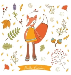 Hello autumn elegant card with cute fox character vector
