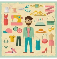 Fashion designer male character design with vector