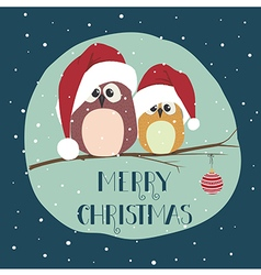 Two cute birds in santa clothes sitting on the vector